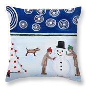 Making A Snowman At Christmas Throw Pillow