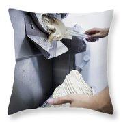Making Gelato Ice Cream With Modern Machine Throw Pillow