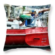 Making The Boat Shipshape Throw Pillow