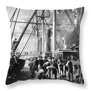 Making The Splice Between The Shore End And The Ocean Cable Throw Pillow