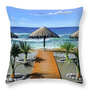 Makry Gialos Beach Throw Pillow