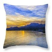 Makrygialos Sunset Digital Painting Throw Pillow