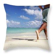 Male Beach Runner Throw Pillow by Brandon Tabiolo - Printscapes
