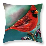 Male Cardinal And Snowy Cherries Throw Pillow