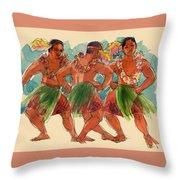 Male Dancers Of Lifuka, Tonga Throw Pillow