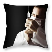 Male Doctor With Needle Syringe On Dark Background Throw Pillow