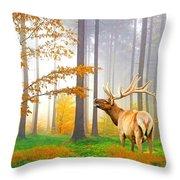 Male Elk Bugling Throw Pillow
