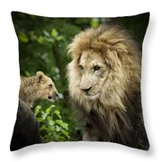 Male Lion And Cub Throw Pillow