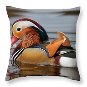 Male Mandarin Duck Throw Pillow