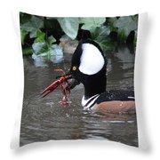 Male Merganser W Crayfish Throw Pillow