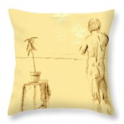 Male Nude By House Plant Throw Pillow