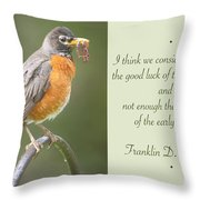 Male Robin With Worms In Bill Animal Behavior Throw Pillow