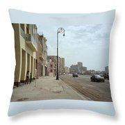 Malecon En Havana Throw Pillow