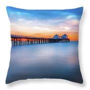 Malibu Pier Sunrise Throw Pillow