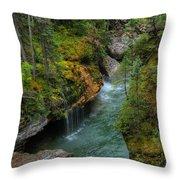 Maligne Canyon Falls Jasper National Park Throw Pillow