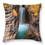 Maligne Canyon Falls Vertical Panorama Throw Pillow