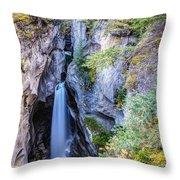 Maligne Canyon Waterfall Throw Pillow