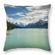 Maligne Lake In Jasper National Park Throw Pillow