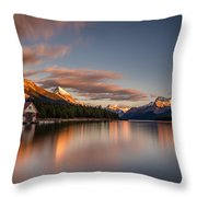 Maligne Lake Sunrise Throw Pillow