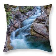 Maligne River In Autumn Throw Pillow