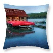 Maligne Tours Boat House Throw Pillow