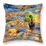 Mallard At The River - Impressions Throw Pillow