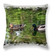 Mallard Couple On A Pond Throw Pillow