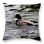 Mallard Duck - Fractal Throw Pillow