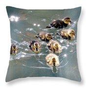 Mallard Ducklings Throw Pillow