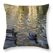 Mallard Ducks On The Canal #1107 Throw Pillow
