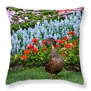 Mallard In The Garden Throw Pillow