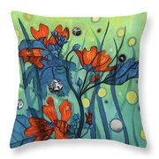 Mallow With Grass And Green Throw Pillow