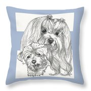 Maltese And Pup Throw Pillow
