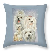 Maltese Collage Throw Pillow