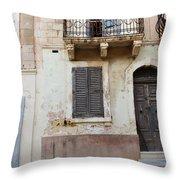 Maltese House On A Steep Street Throw Pillow
