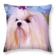 Maltese Portrait - Square Throw Pillow