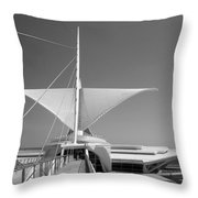 Mam Wings Spread B-w Throw Pillow