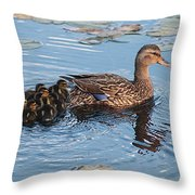 Mama Mallard And Her Ducklings Throw Pillow
