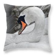 Mama Swan At Abbotsbury - Desaturated Throw Pillow