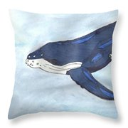 Mama Whale Throw Pillow