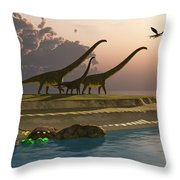 Mamenchisaurus Dinosaur Morning Throw Pillow