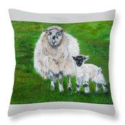 Mamma And Baby Sheep Of Ireland Throw Pillow