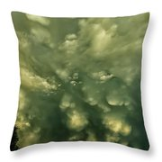 Mammatus Clouds And Double Rainbow Throw Pillow