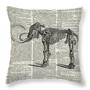 Mammoth Elephant Bones Over A Antique Dictionary Book Page Throw Pillow