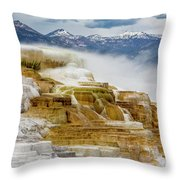 Mammoth Hot Springs In Yellowstone National Park, Wyoming. Throw Pillow