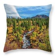 Mammoth Lakes Autumn Falls Throw Pillow