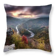 Man Above A River Meander Throw Pillow
