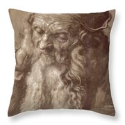 Man Aged 93 Brush Ink On Paper 1521 Throw Pillow