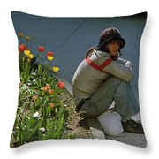 Man Alone Sitting On Curb Throw Pillow