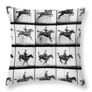 Man And Horse Jumping Throw Pillow by Eadweard Muybridge